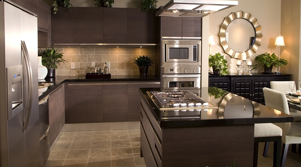 Modern wood granite kitchen design in houston