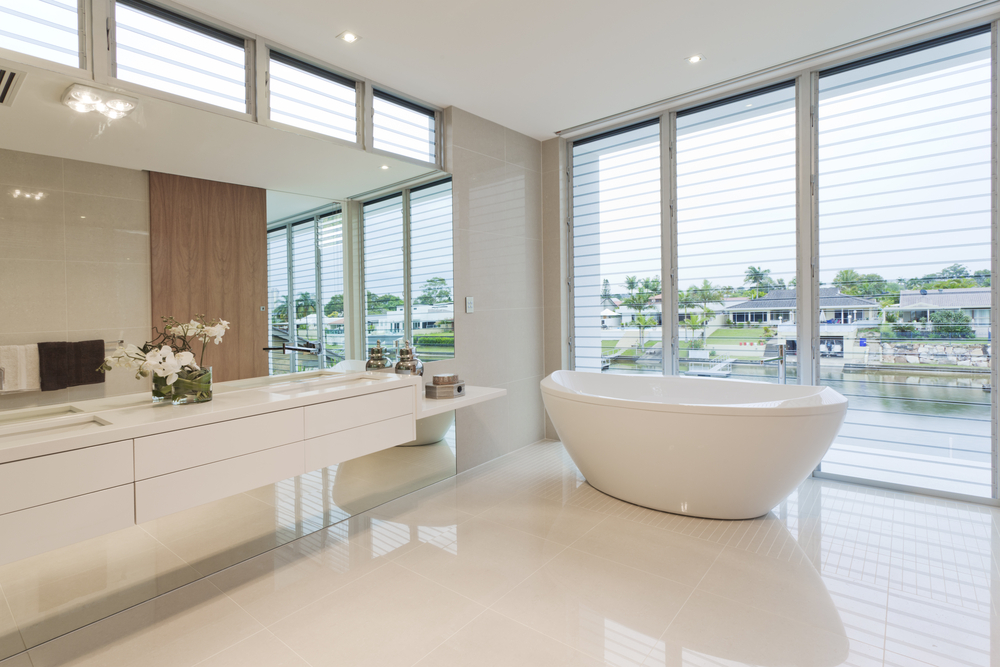 White Quartz Flooring In Houston Home